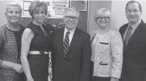 From left, Maureen Passerini, Branch Office Manager Louise Colonna, HGAR CEO Richard Haggerty, Donna Riniti and HGAR's Gary Connolly.