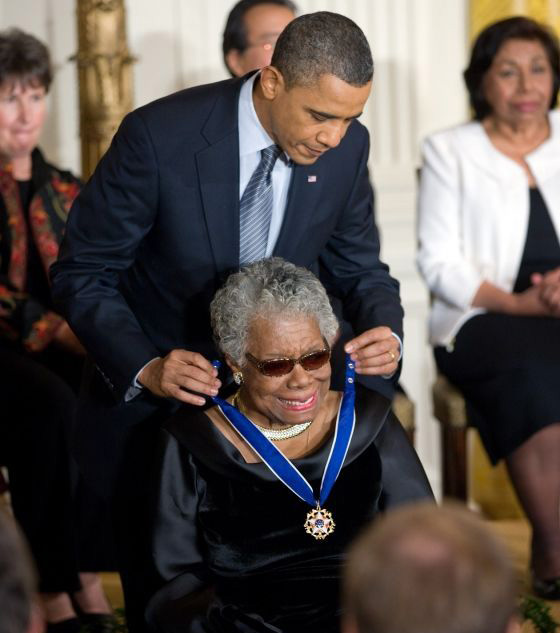 Barack Obama presenting Maya Angelou the Medal of Freedom