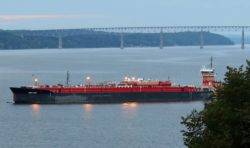 Oil barge moored near Rhinecliff, NY