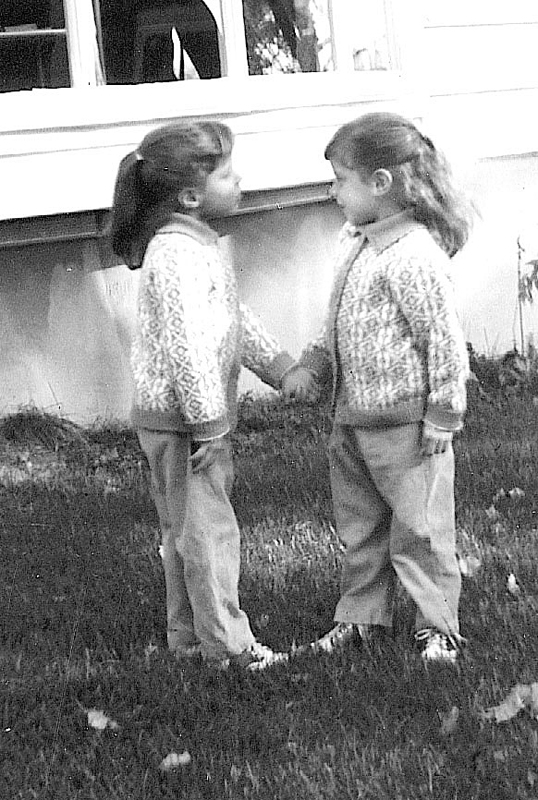 From left, Toni Chrystal and Terri Crozier as children.