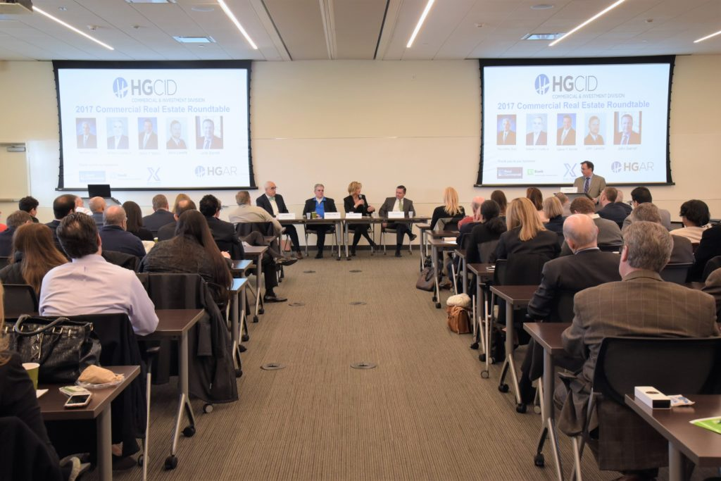 A record crowd of more than 120 real estate professionals attended this year's Commercial Real Estate Broker's Roundtable at the HGAR offices in White Plains. PHOTO BY JOHN VECCHIOLLA