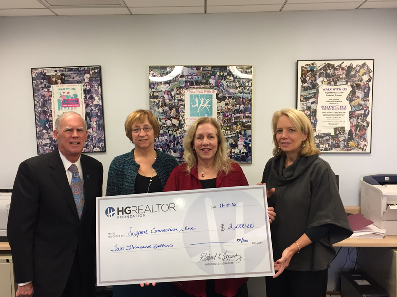 From left, Harding Mason, HG Realtor Foundation Trustee; Barbara Cevoni, director of services and communication, Support Connection; Katherine Quinn, executive director, Support Connection; and Lin Crispinelli, president, HG Realtor Foundation. Based in Yorktown Heights, the organization provides emotional, social and educational support to women, their families and friends affected by breast and ovarian cancer.